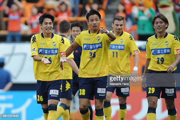 Haruya Ide of JEF United Chiba celebrates the first goal during the JLeague Division2 match between JEF United Chiba and Efime FC at Fukuda Denshi...