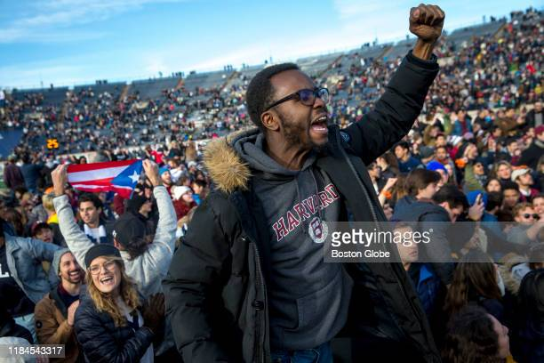 Harvard and Yale students protest during the halftime of the college football game between Harvard and Yale at the Yale Bowl in New Haven, CT on...