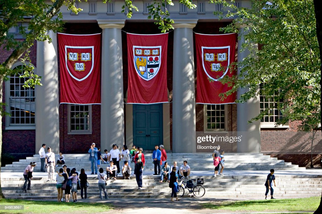 Harvard banners hang outside Memorial Church on the Harvard : News Photo