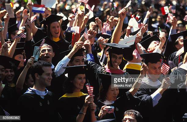 Harvard Business School students celebrate their graduation in Boston. It is one of the graduate schools of Harvard University, and is one of the...