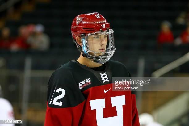 Harvard Crimson defenseman John Marino during warm ups prior to the 2018 Frozen Apple College Hockey game between the Cornell Big Red and the Harvard...