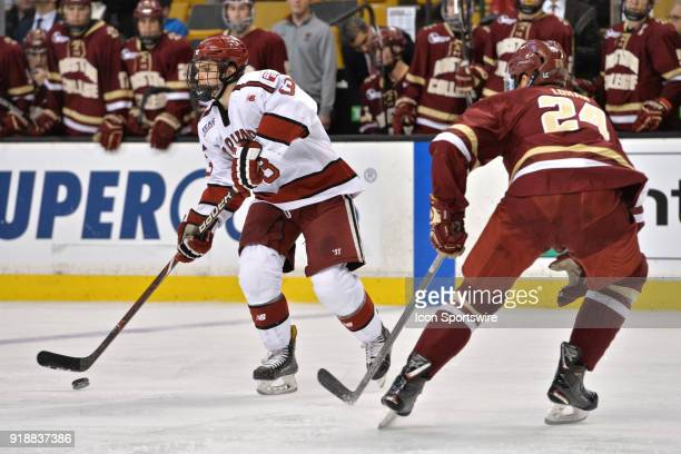 Harvard Crimson defenseman Ryan Begoon skates up ice with the puck During the Harvard University Crimson game against the Boston College Eagles at TD...