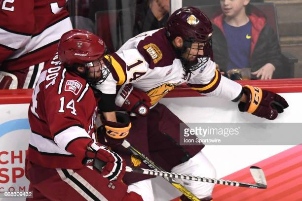 Harvard Crimson forward Alexander Kerfoot checks MinnesotaDuluth Bulldogs wing Alex Iafallo during an NCAA Frozen Four semifinal game with the...