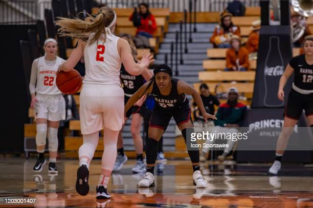 Harvard Crimson guard Gabby Donaldson defends Princeton Tigers guard Carlie Littlefield during the Ivy League college basketball game between the...