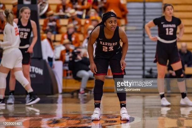 Harvard Crimson guard Gabby Donaldson during the Ivy League college basketball game between the Harvard Crimson and Princeton Tigers on February 21...