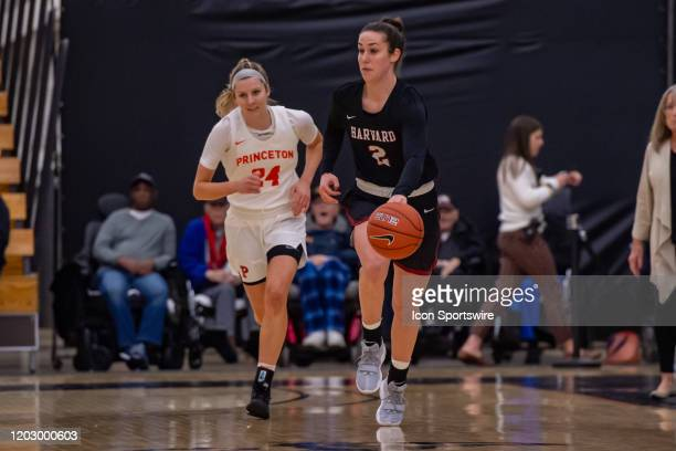Harvard Crimson guard Tess Sussman moves the ball during the Ivy League college basketball game between the Harvard Crimson and Princeton Tigers on...
