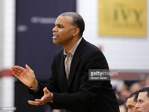 Harvard Crimson head coach Tommy Amaker on the sidelines. Harvard took on Dartmouth in a Ivy League men's basketball game at Lavietes Pavilion.