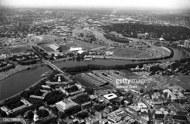 Harvard, Harvard Stadium & Charles River , Cambridge, Massachusetts, 1971.