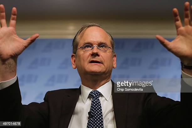 Harvard Law School professor and former 2016 Democratic presidential candidate Lawrence Lessig discusses campaign finance reform at the American...