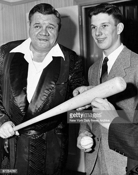 Harvard M Hodgkins a 17yearold boy scout who figured in the capture of two Nazi saboteurs meets with Babe Ruth at his Riverside Drive home