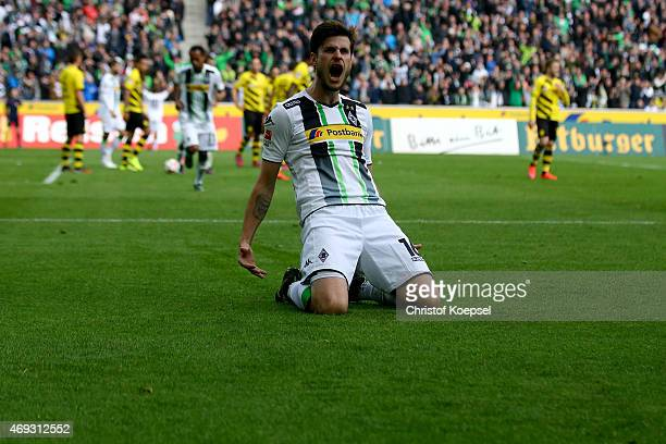Harvard Nordtveit of Moenchengladbach celebrates the third goal during the Bundesliga match between Borussia Moenchenglkadbach and Borussia Dortmund...