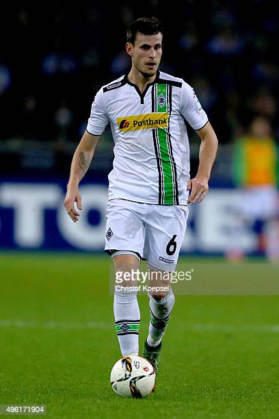 Harvard Nordtveit of Moenchengladbach runs with the ball during the Bundesliga match between Borussia Moenchengladbach and FC Ingolstadt at...