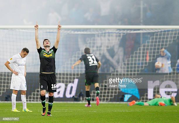 Harvard Nordtveit of Monchengladbach celebrates scoring a goal during the UEFA Europa League match between FC Zurich and VfL Borussia Monchengladbach...
