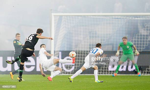 Harvard Nordtveit of Monchengladbach scores a goal during the UEFA Europa League match between FC Zurich and VfL Borussia Monchengladbach at Stadion...