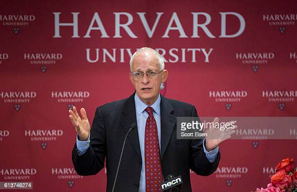 Harvard Professor Oliver Hart during a press conference at Harvard announcing his shared Nobel Prize in Economics with MIT Professor Bengt Holmstrom...
