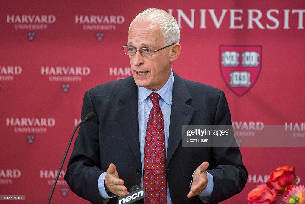 Harvard Professor Oliver Hart during a press conference at Harvard announcing his shared Nobel Prize in Economics with MIT Professor Bengt Holmstrom on October 10, 2016 in Cambridge, Massachusetts. Hart and Holmstrom won the prize for their work on contract theory.