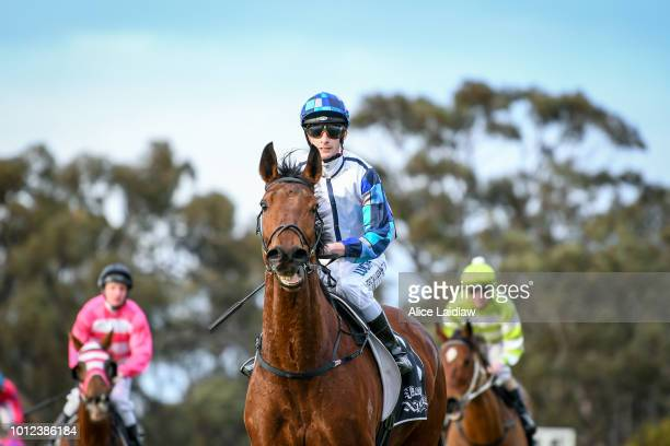 Harvard ridden by Teodore Nugent returns to scale after winning the Save The Date April 20 2019 BM58 Handicap at Warracknabeal Racecourse on August...