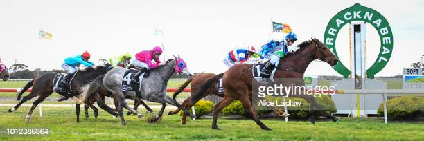 Harvard ridden by Teodore Nugent wins the Save The Date April 20 2019 BM58 Handicap at Warracknabeal Racecourse on August 07 2018 in Warracknabeal...