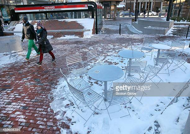 Harvard Square remains empty as the temperature reaches the single digits