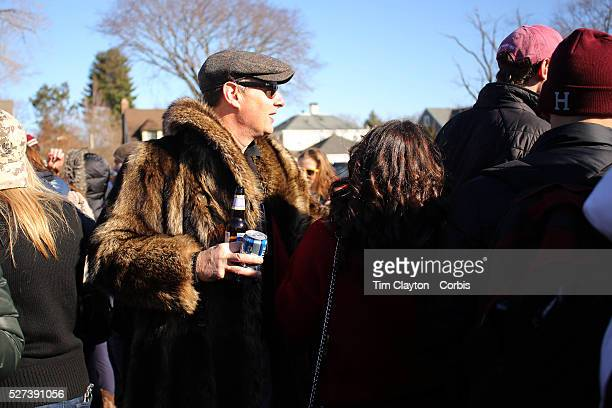 Harvard supporters tailgating before the Yale V Harvard Ivy League Football match at Yale Bowl Harvard won the game 347 giving Harvard a share of the...