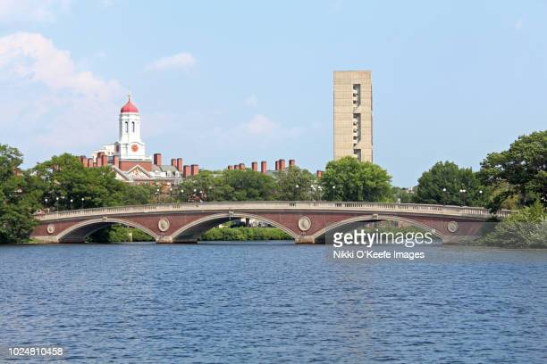 harvard univeristy and the john weeks bridge - cambridge massachusetts stock pictures, royalty-free photos & images