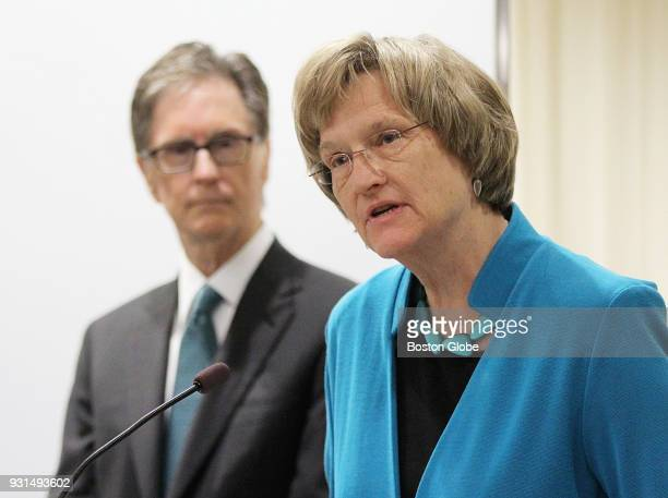 Harvard University President Drew Gilpin Faust speaks during the announcement of HUBweek at the Ragon Institute in Cambridge Mass on Dec 12 2014 John...