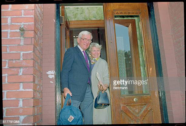 Harvard University Professor Norman Ramsey and his wife, Ellie Welch-Ramsey leave their Brookline, Massachusetts, home 10/12 after receiving word...