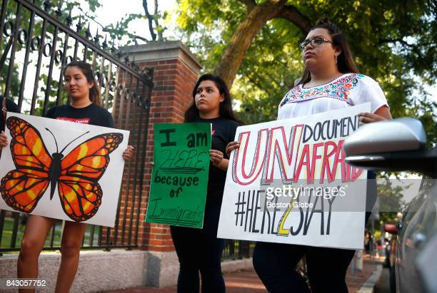Harvard University students and members of Act on a Dream a group of Harvard Students who advocate for immigration reform from left Maribel Nava Zoe...