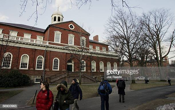 Harvard University students walk through the campus on the day Harvard University president Lawrence H Summers announced he is resigning at the end...