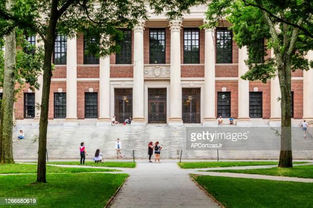 ハーバード大学ワイドナー記念図書館 - アイビーリーグ ストックフォトと画像