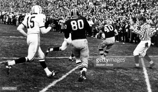 Harvard University's Vic Gatto catches a pass for a touchdown to set up the two point conversion to tie Yale University in The Game at Harvard...