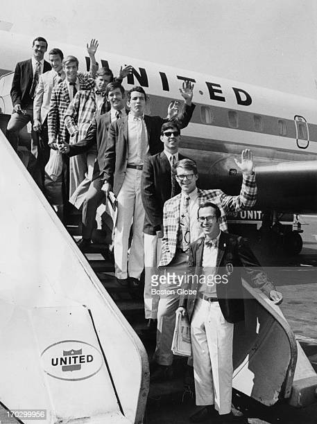 Harvard's rowing crew as they depart for California From top to bottom Dave Higgins Cleve Livingston Steve Brooks Fitz Hobbs Scott Steketee Andy...