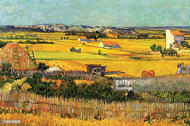 Harvest at La Crau with Montmajour in the Background 1880 By Vincent Van Gogh