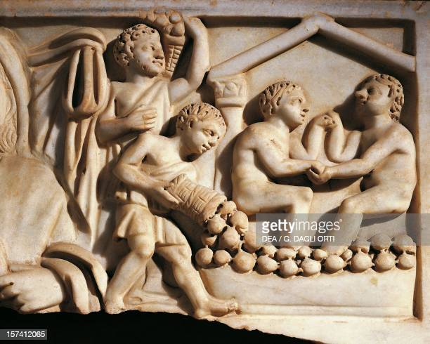 Harvest detail from a relief on a marble sarcophagus Catacombs of Praetextatus Rome Italy 3rd century