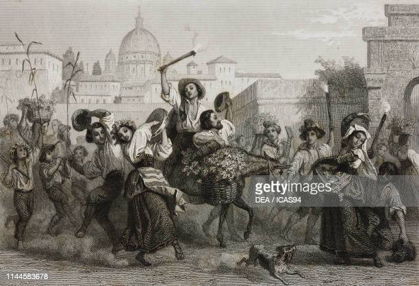 Harvest Festival a peasant procession carrying grapes singing and dancing Rome Italy drawing by Karl Girardet etching by Paul Girardet from Rome...