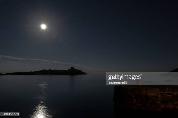 harvest moon on dalkey island - dalkey stock pictures, royalty-free photos & images
