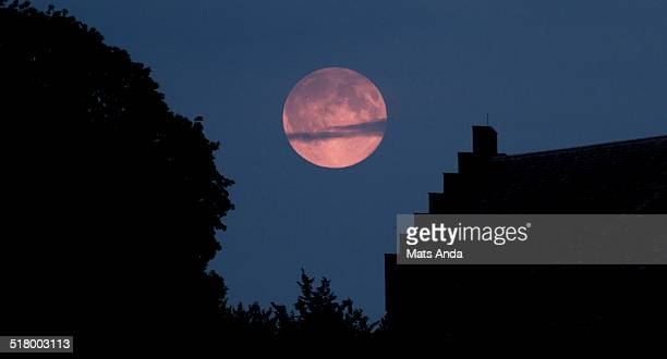 Harvest (full) moon over Oslo, Norway.