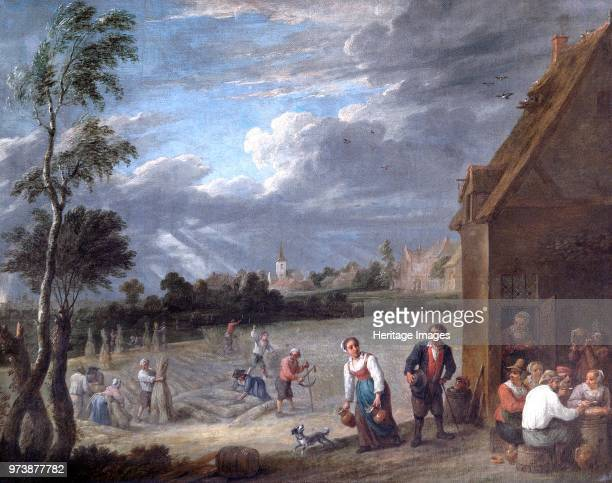 Harvest scene', 17th century. Painting in Apsley House, London, from the Spanish Royal Collection, captured by the Duke of Wellington at Vitoria in...