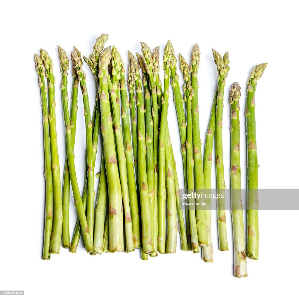 harvested asparagus isolated on white : Stock Photo