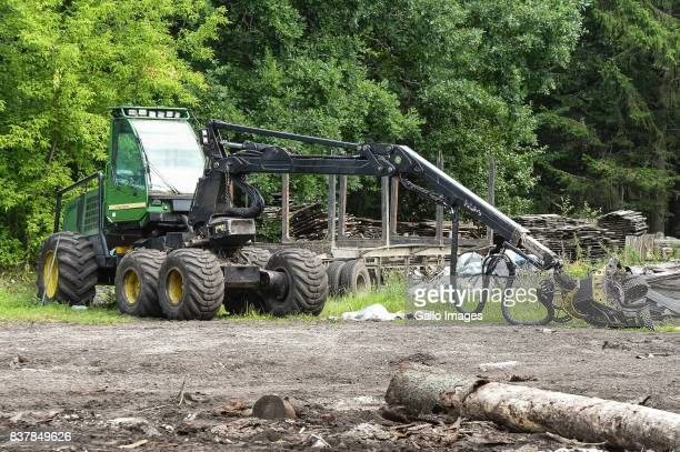 A harvester seen on August 09 2017 near Bialowieza Poland The Bialowieza National Park is best known for the protection of the Bialowieza Forest...