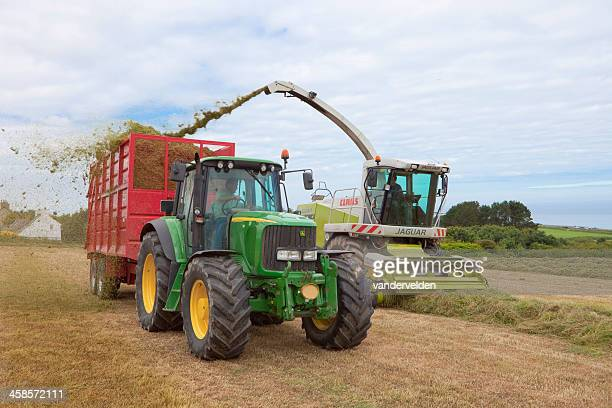harvesting hay for silage - john deere tractor stock photos and pictures