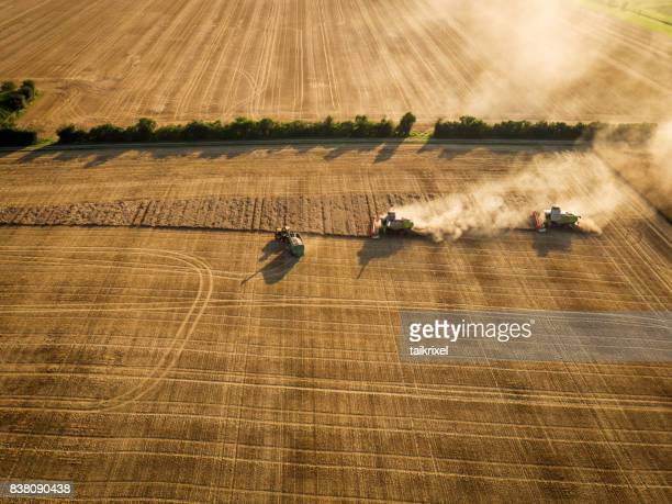harvesting on grainfield from above, germany - threshing stock photos and pictures