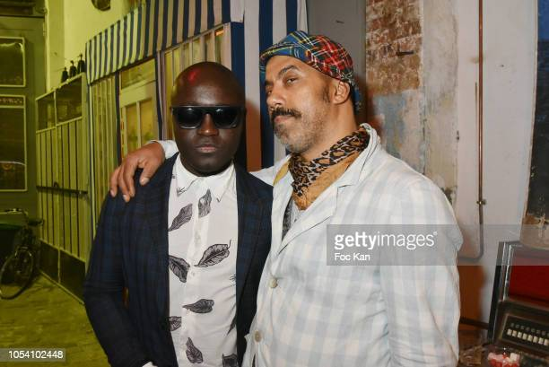 Harvey Ambomo and Karim Bonnet fashion designer from Impasse De La Defense attend Harvey Ambomo BDay Party at 15 Rue Polonceau on October 26, 2018 in...