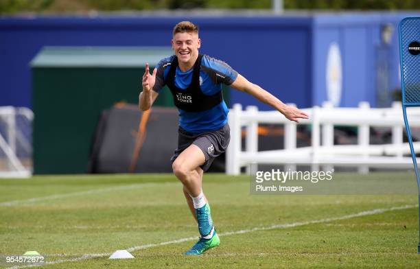 Harvey Barnes during the Leicester City training session at Belvoir Drive Training Complex on May 04 2018 in Leicester United Kingdom