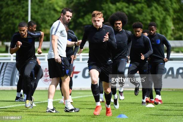 Harvey Barnes in action during an England U21 Training Session at St Georges Park on May 27 2019 in BurtonuponTrent England
