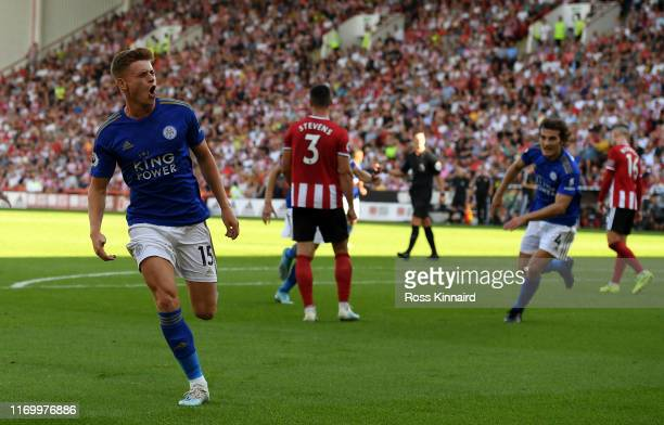 Harvey Barnes of Leicester celebrates after scoring the winning goal during the Premier League match between Sheffield United and Leicester City at...