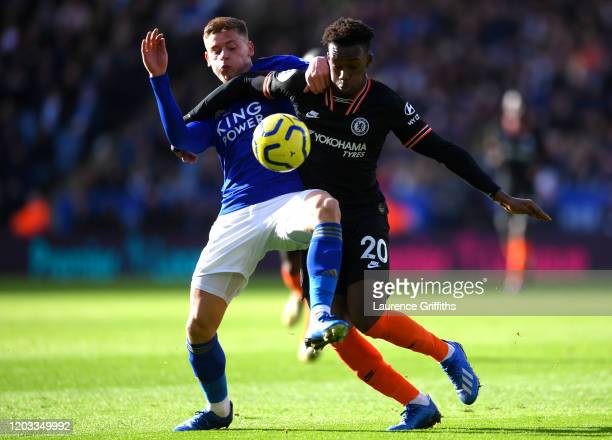 Harvey Barnes of Leicester City and Callum Hudson-Odoi of Chelsea during the Premier League match between Leicester City and Chelsea FC at The King...
