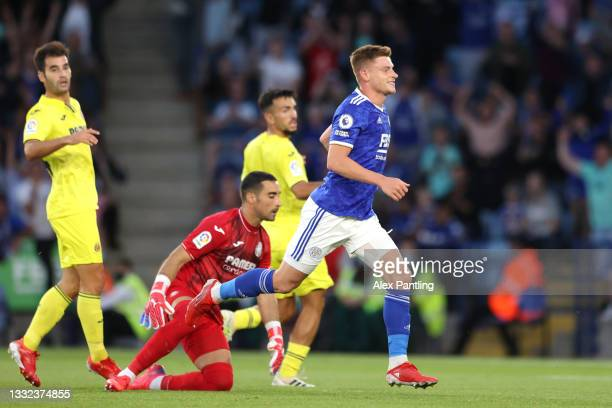 Harvey Barnes of Leicester City celebrates after he scores his sides second goal during a Pre Season Friendly match between Leicester City and...