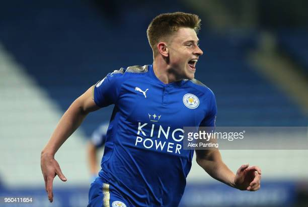 Harvey Barnes of Leicester City celebrates after scoring his sides second goal during the Premier league 2 match between Leicester City and Derby...