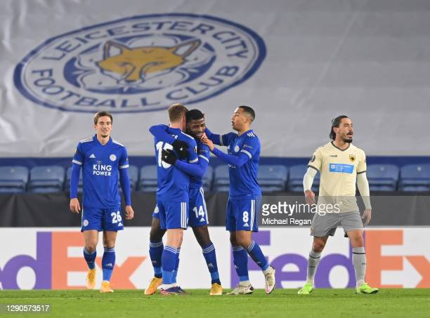 Harvey Barnes of Leicester City celebrates after scoring his team 2nd goal with Dennis Praet , Kelechi Iheanacho and Youri Tielemans of Leicester...